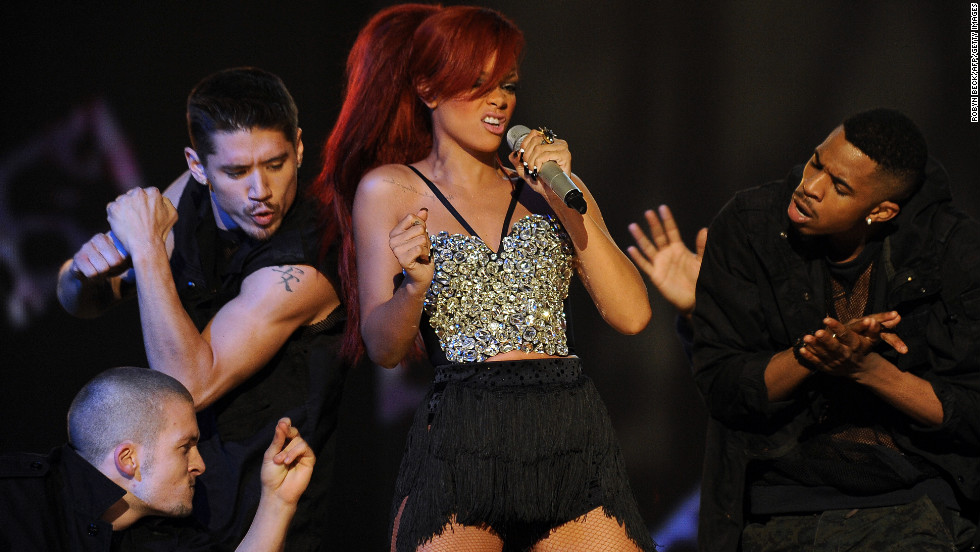 Rihanna performs during the halftime show at the NBA All-Star Game in February 2011.