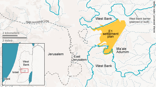 Map: Israel E1 settlement plan