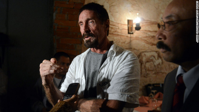 "John McAfee's lawyer said the Internet security pioneer went to Guatemala to escape ""persecution"" from police in Belize."