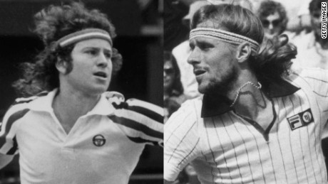 John McEnroe, left, and tennis rival Bjorn Borg