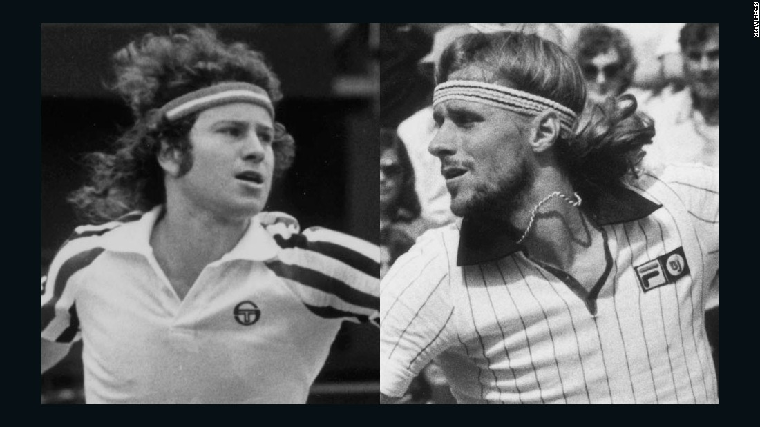 John McEnroe, left, was known for his powerful volleys and fiery on-court tantrums, while rival Bjorn Borg was his polar opposite -- with ice-cool demeanor and baseline domination.