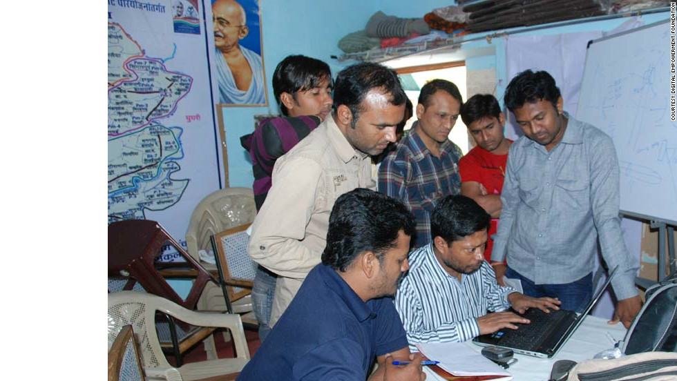 The Digital Empowerment Foundation in Delhi has been using unused spectrum to supply remote tribal regions with wireless Internet and has been training tribal people to operate it. Pictured are tribals in Madhya Pradesh being trained in how to manage, maintain and monitor a small wireless network.