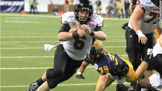 Jordan Lynch #6 of the Northern Illinois Huskies scores a second half touch down against the Kent State Golden Flashes during the Mid-American Conference Championship game at Ford Field on November 30, 2012 in Detroit, Michigan. Illinois won 44-37