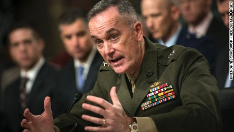 US Marine General Joseph F. Dunford, Jr. speaks during a hearing of the Senate Armed Service Committee on Capitol Hill November 15, 2012 in Washington, DC.