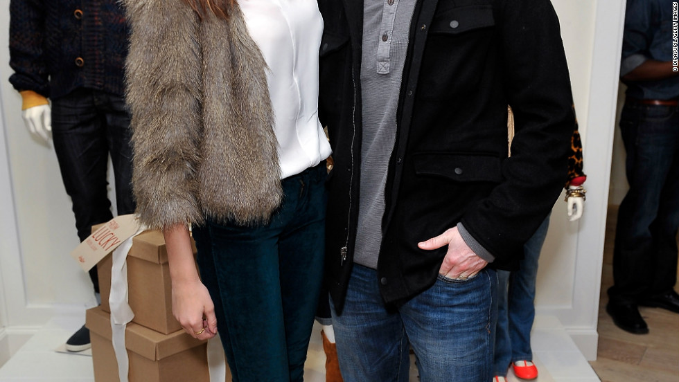 Odette and Dave Annable attend a store opening in New York City.