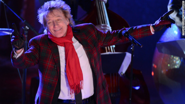 Rod Stewart performs at the 80th Annual Rockefeller Center Christmas Tree Lighting Ceremony in November in New York City.