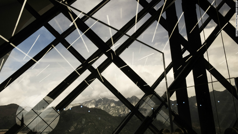 The Amalfi coast and the mountains are reflected in Ravello's Auditorium Oscar Niemeyer the day of its official inauguration on January 29, 2009. After ten years of controversy, the auditorium opened in the southern Italian town of Ravello on the Amalfi coast.