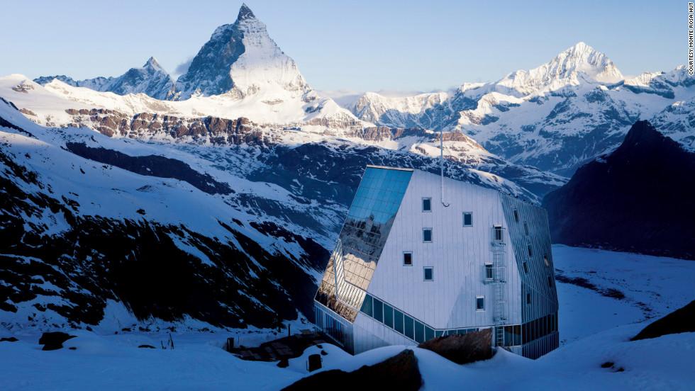 Monte Rosa Hütte features 18 mini-dormitories in the snow.