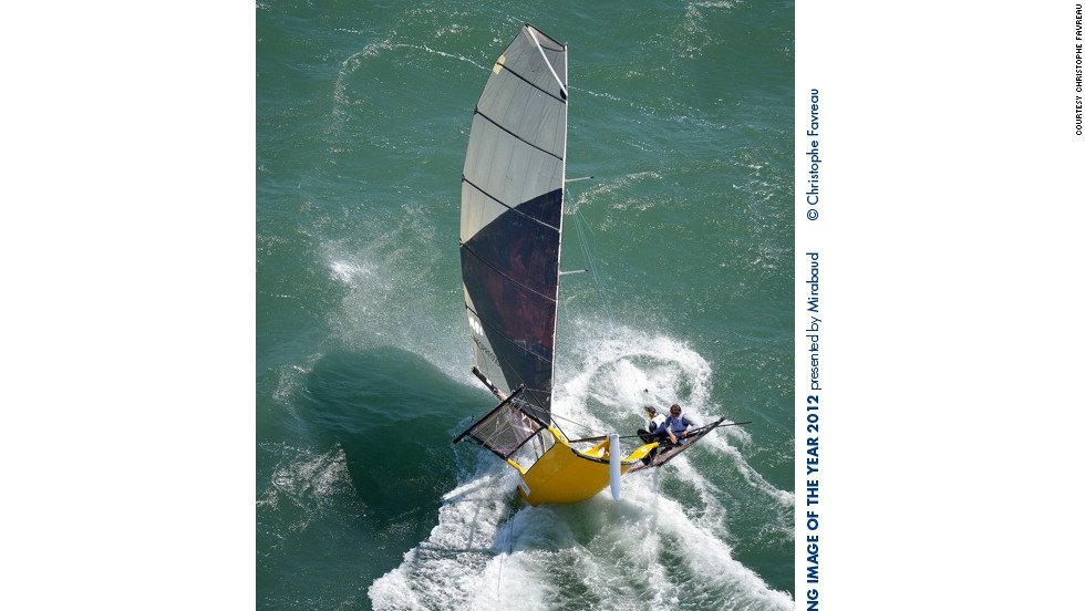 Photographer Christophe Favreau said Arrigo's winning photo would have been impossible to capture with slow film cameras 20 years ago. Favreau's own submission was of a toubled skiff during the Expresso International Regatta.