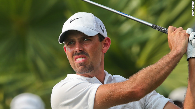 Charl Schwartzel plays a tee shot during his second round as he claimed the halfway lead at the Thailand Open.