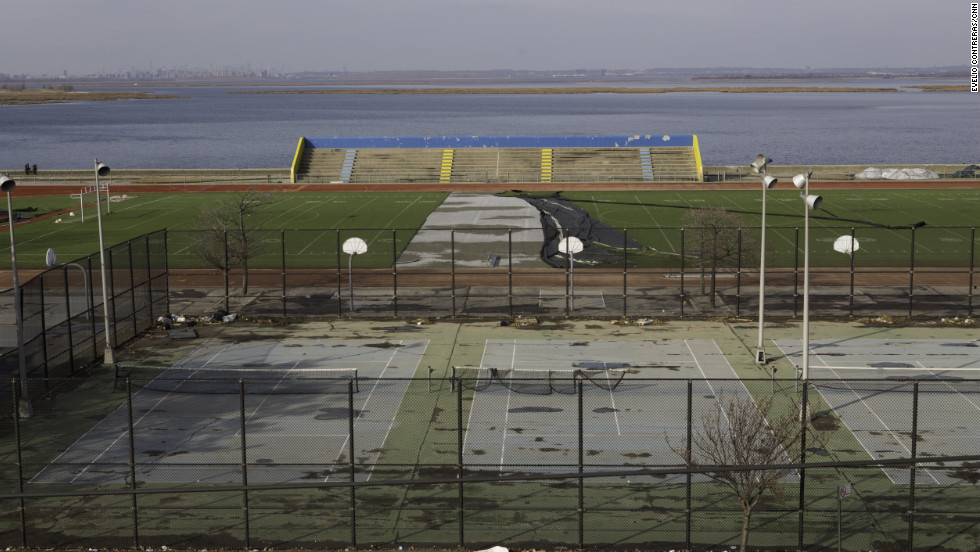 Athletic fields across the street from Ryan Panetta's school, Scholars' Academy, in Queens, remain in disrepair after Superstorm Sandy.<br />