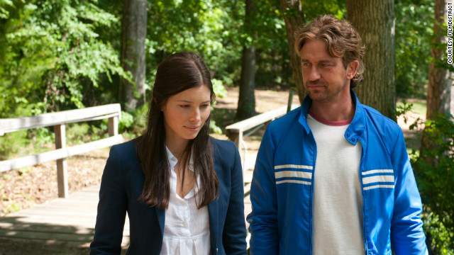 "Jessica Biel stars as Stacie and Gerard Butler stars as George in ""Playing for Keeps."""