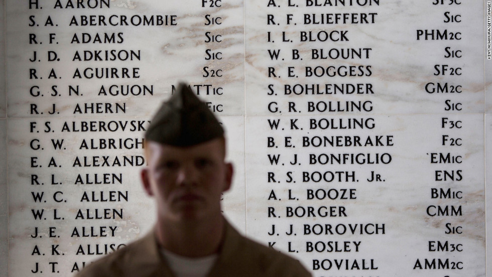 Names are etched on the Remembrance Wall in the shrine room of the USS Arizona Memorial in Pearl Harbor, Hawaii.