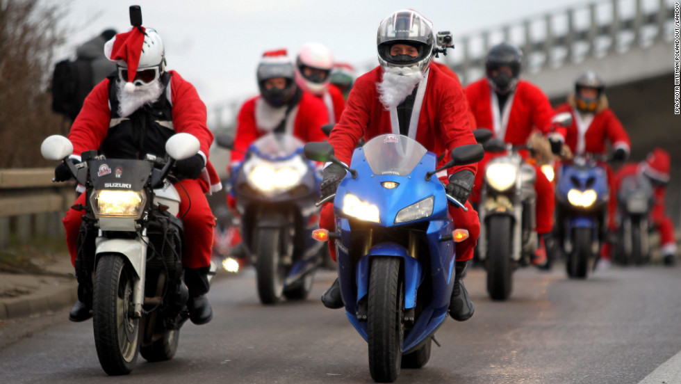 A few thousand Santa Clauses ride between Gdansk and Gdynia, Poland, on Sunday, December 9. Santa Clauses rode on scooters, motorcycles and all-terrain vehicles between the two Polish cities.