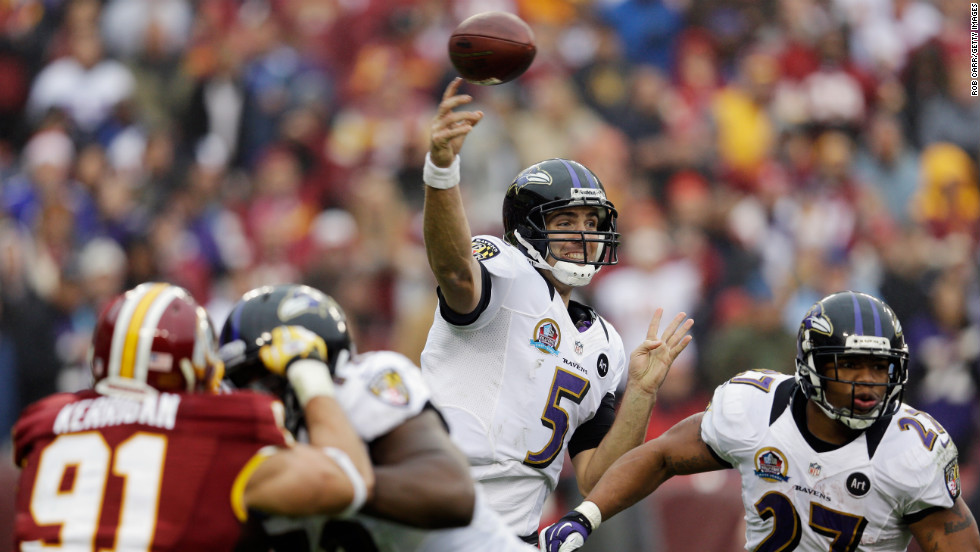 Ravens quarterback Joe Flacco throws a pass during the first half against the Washington Redskins on Sunday.