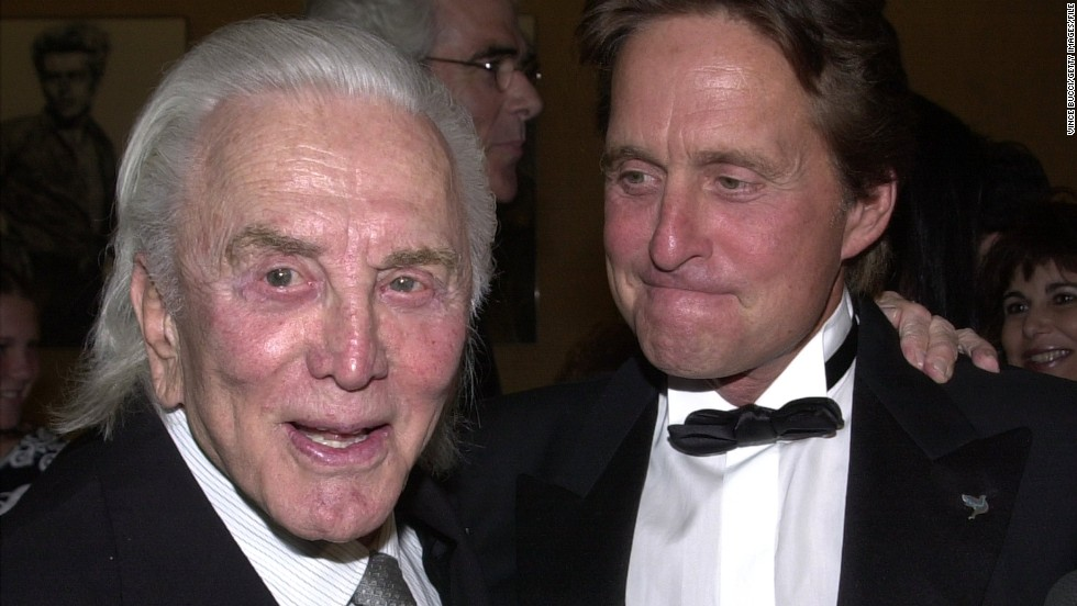 Kirk Douglas and son, actor Michael Douglas, attend the Simon Wiesenthal Center's National Tribute Dinner honoring Michael Douglas with the 2001 Humanitarian Award on June 25, 2001. Kirk Douglas has appeared in two movies with his son.