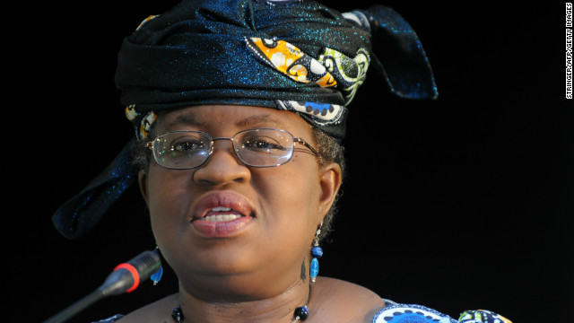 (File photo) Nigeria's finance minister Ngozi Okonjo-Iweala addresses the media on March 23, 2012 in Pretoria, South Africa.