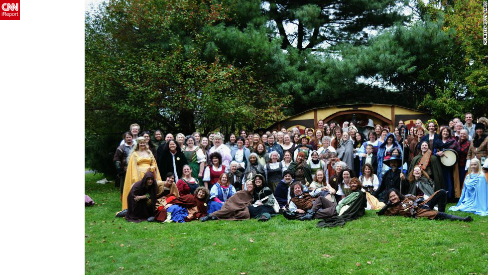 """For some J.R.R. Tolkien fans, the release of """"The Hobbit: An Unexpected Journey"""" in movie theaters this week is like a family reunion. This 2011 gathering of fans, called <a href=""""http://ireport.cnn.com/docs/DOC-893807"""">""""A Party Long Expected,""""</a> takes place <a href=""""http://ireport.cnn.com/docs/DOC-891982"""">every few years</a> at the Shaker Village of Pleasant Hill in Harrodsburg, Kentucky. A smaller group plans to meet there to see """"The Hobbit"""" opening weekend, according to CNN iReporter Kelly Gable."""