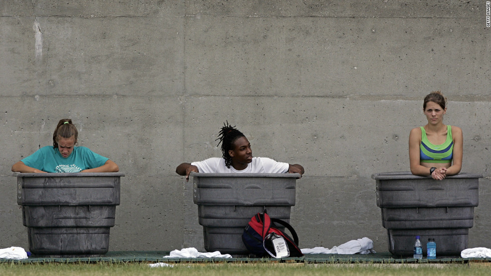 Athletes chill out during the 2007 US Track and Field Championships.