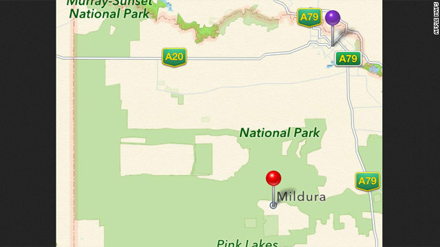 Apple Maps lists the Australian city of Mildura (purple pin) as being 70 kilometers away, in the middle of a national park (red pin).