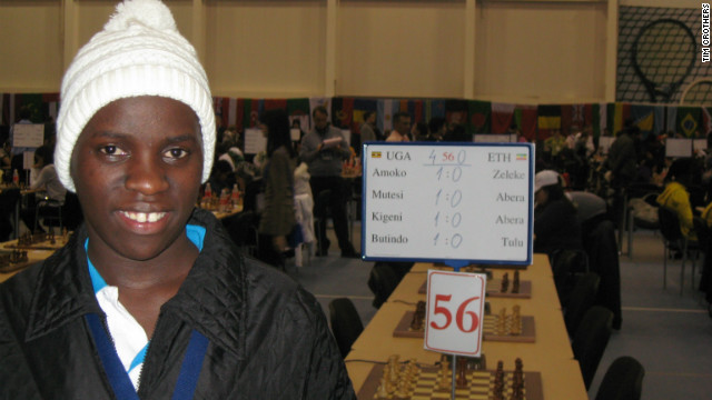 Phiona Mutesi relishes her first victory at the 2010 Chess Olympiad in Khanty-Mansiysk, Russia