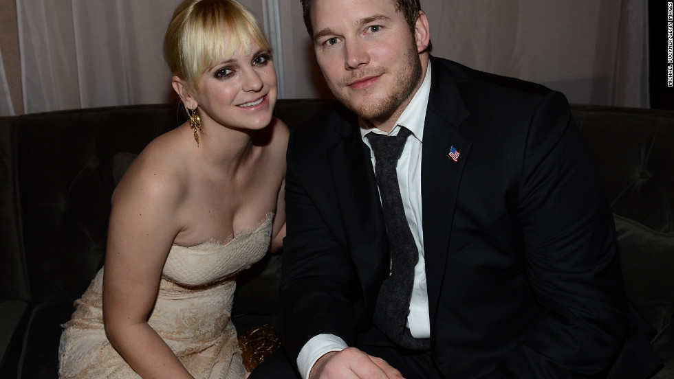 "Anna Faris and Chris Pratt attend a party after the ""Zero Dark Thirty"" premiere in Hollywood."