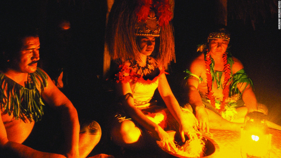 Samoans welcome the new year with songs, prayer services and village banquents, all of which begin and end with a traditional kava ceremony.