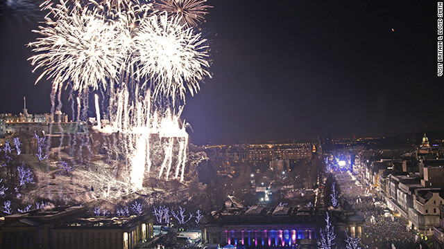 Fireworks light up Edinburgh's Princes Street.