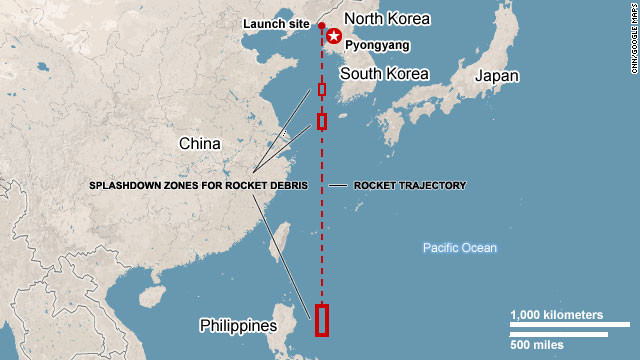 Map shows trajectory of the missile.