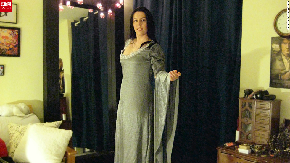 """With the midnight screening approaching, Meta's Arwen costume is nearly finished. She has described the process of sewing this dress together as an """"obsession."""""""