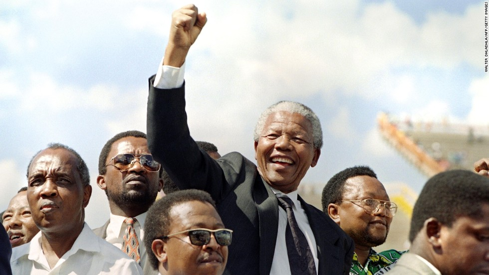 Mandela in Mmabatho for an election rally on March 15, 1994.