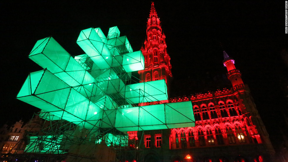 The Grand Place in Brussels, Belgium, is illuminated for Christmas.