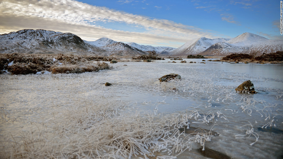 """A frozen view of Lochan na h-Achlaise on Wednesday, December 12, in Rannoch Moor, United Kingdom. Ice and fog spread across the United Kingdom on Wednesday with temperatures reaching -6 degrees Celsius (21.2 degrees Farenheit) in some parts of the country, according to the <a href=""""http://www.metoffice.gov.uk/"""" target=""""_blank"""">Met Office</a>."""