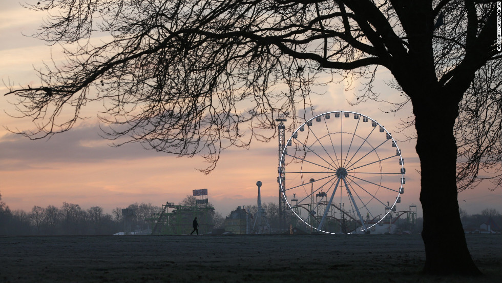 Frost covers Hyde Park in the early morning of December 12 in London, England.
