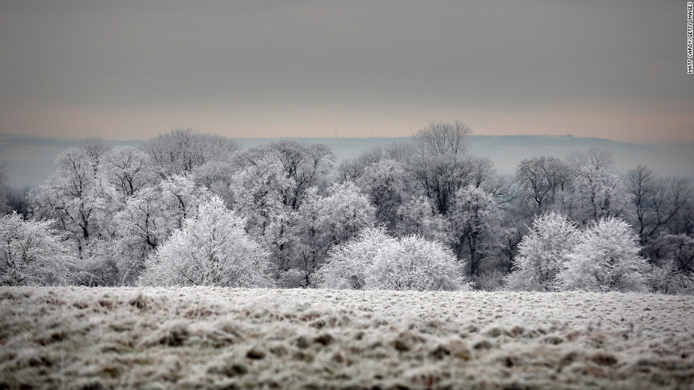 Frost lingers on the trees at Dyrham Park on December 12 near Bath, England.