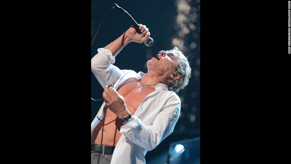 "Roger Daltrey of The Who performs on Wednesday. The Who's set included ""Who Are You"" and ""Pinball Wizard."""