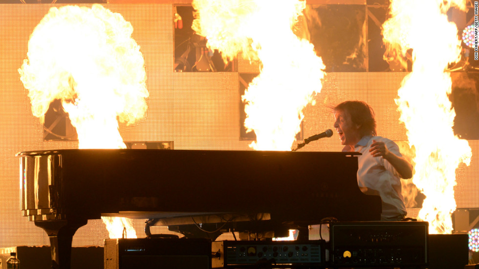 Sir Paul McCartney performs amid huge pyrotechnic displays.