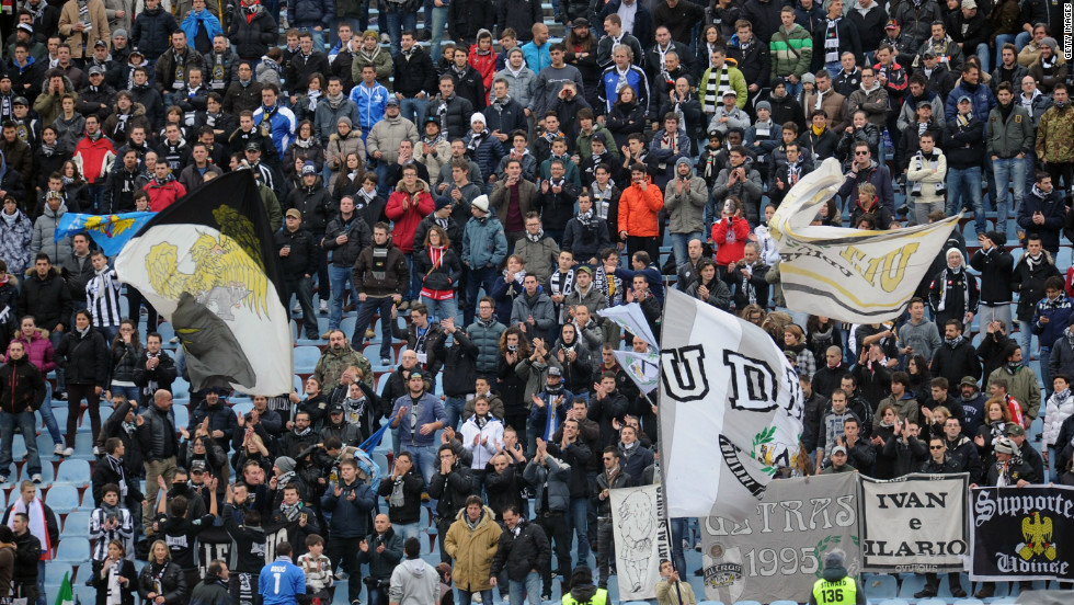 Udinese, one of Italy's leading club's last season, has an average home attendance of around 18,000 -- but attracts far fewer fans to its away games.