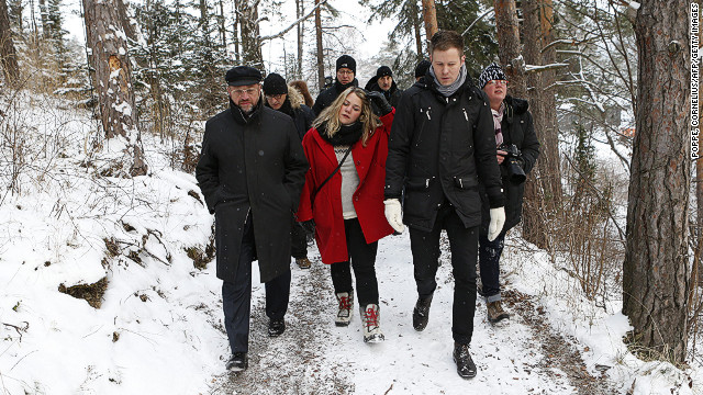 Martin Schulz (left) visits Utoya Island near Oslo, Norway, on December 11, 2012.