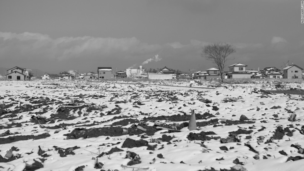 A neighborhood in Ishinomaki leveled by the tsunami is pictured one year after the disaster, on March 2012.