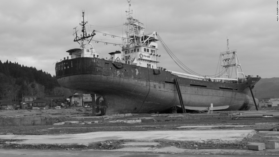 Kessenuma, a ship that was carried more than 500 meters inland, still remains marooned in this image from March 2012.