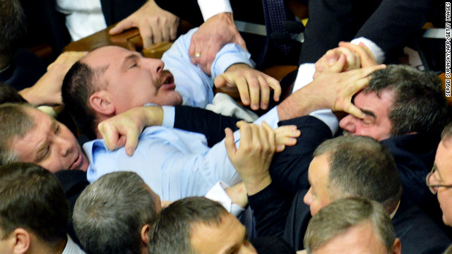 Fists fly in Ukraine's parliament