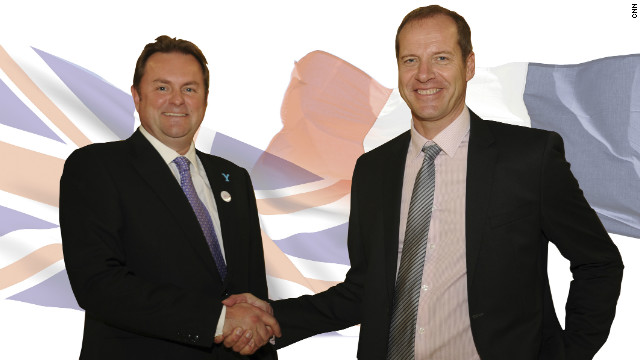 Shake on it. Gary Verity, chief executive of Welcome to Yorkshire, and Tour organizer Christian Prudhomme seal the 2014 deal.