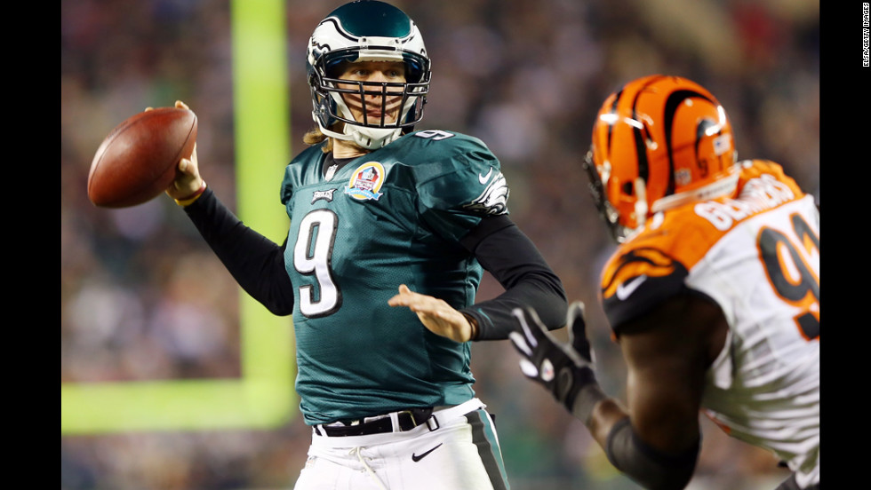 Nick Foles of the Philadelphia Eagles passes the ball in the first quarter against the Cincinnati Bengals on December 13.