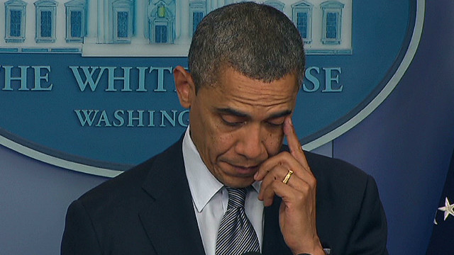 Obama weeps over school massacre