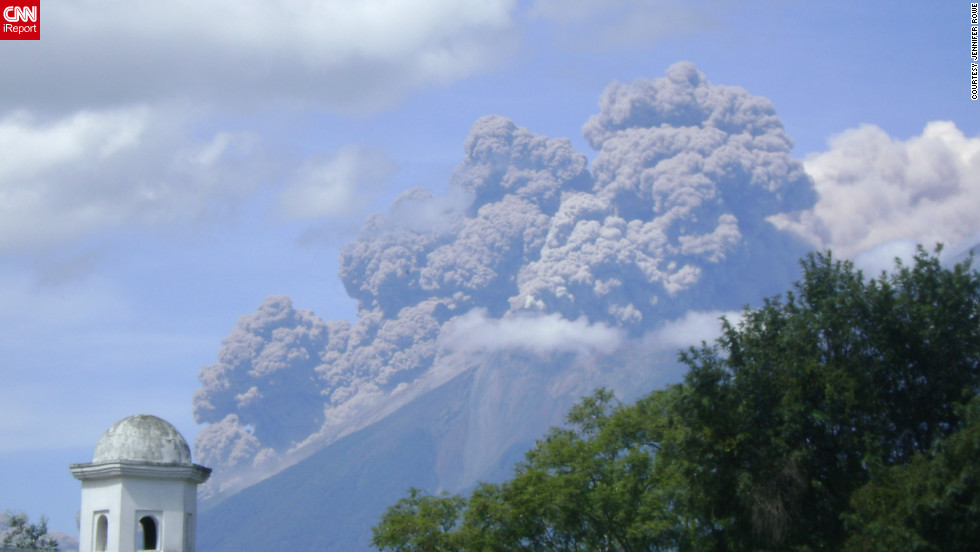 "Fuego Volcano spewed ash into the air in <a href=""http://ireport.cnn.com/docs/DOC-841218"">Antigua, Guatemala</a>, shortly after it erupted in September. Photographer Jennifer Rowe said, ""People who have lived here for more than 20 years have told me this is the biggest eruption they've ever seen."""