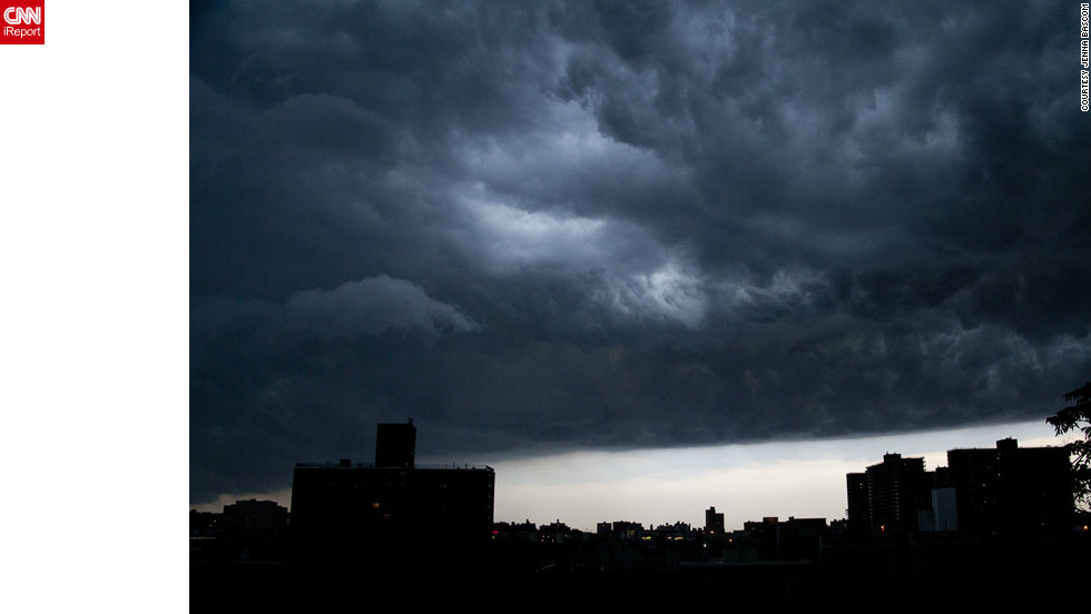 "Skies darkened over <a href=""http://ireport.cnn.com/docs/DOC-821142"">New York City</a> as a storm moved into the area in July. ""The storm was pretty mild, but seeing it come through was amazing,"" said photographer Jenna Bascom at the time. ""Gorgeous clouds, great light."""