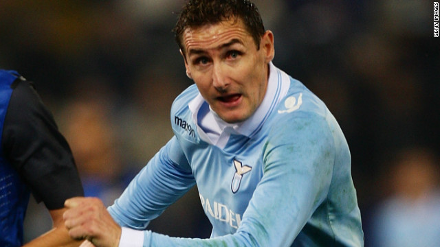 Lazio striker Miroslav Klose scored his 10th Serie A goal this season in Saturday's 1-0 win over Internazionale.