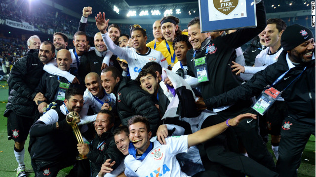 Corinthians of Brazil celebrate victory after it defeated Chelsea 1-0 at  the Club World Cup final in Japan.