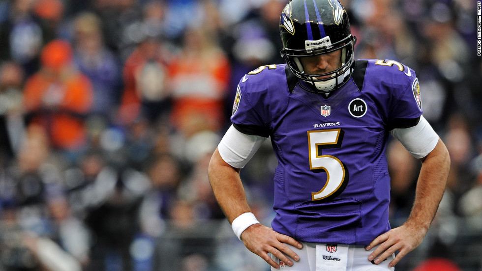 Quarterback Joe Flacco of the Baltimore Ravens shows his frustration on Sunday after a loss of yards against the Denver Broncos in the second quarter at M&T Bank Stadium in Baltimore.